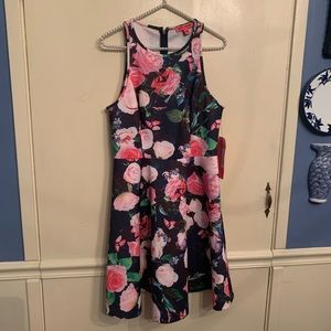 Betsey Johnson Floral Scuba Fit Flare Dress Sz 8